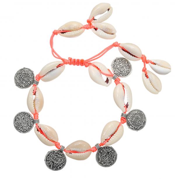 Armband funky shell roze
