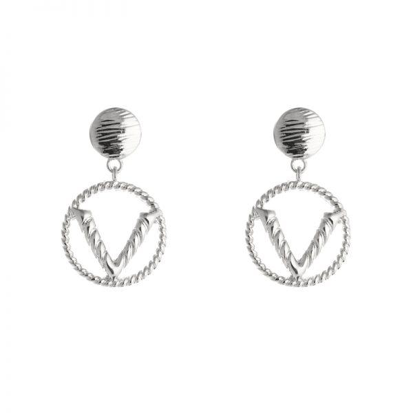 Oorbellen fashion v - zilver
